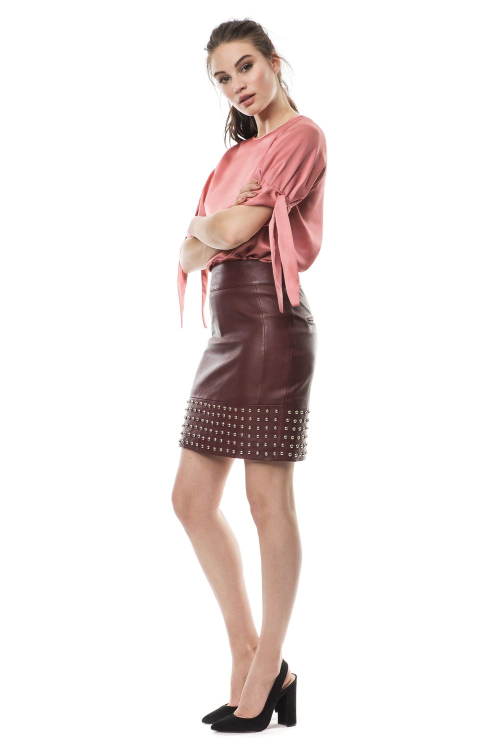 Aya studded leather skirt
